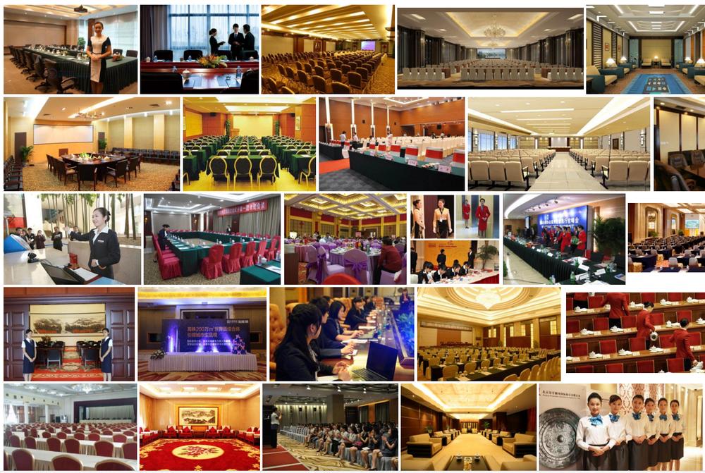 按教室式布置会议室,每个座位的空间将根据桌子的大小而有所不同.